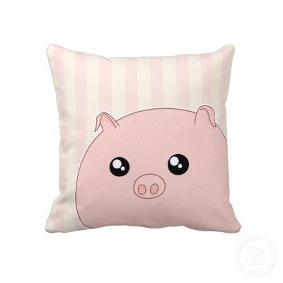 Cute Kawaii chubby pink pig Throw Pillow by DiaSuuArt