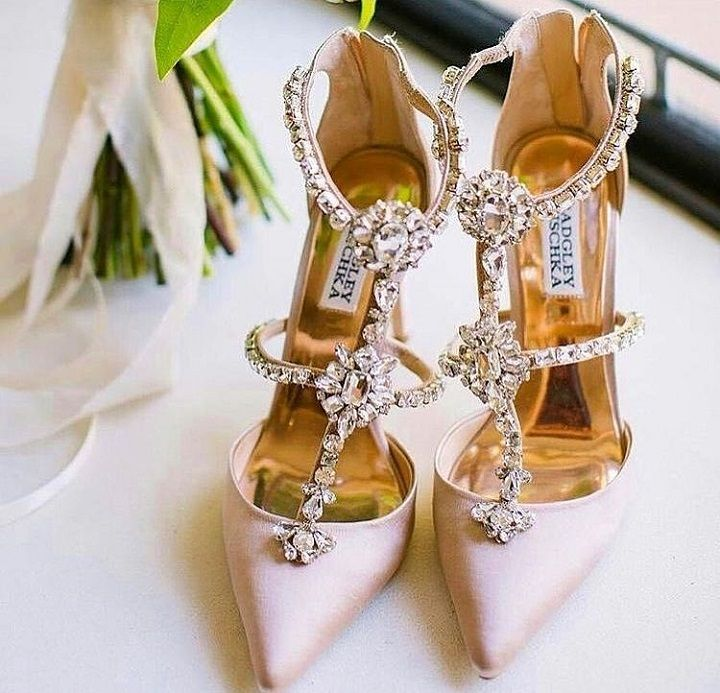 New Blush Badgley Mischka Wedding Shoes with embroidered accent