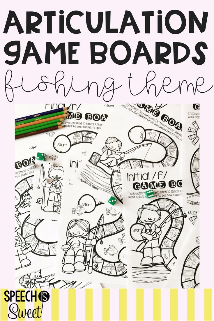 Coloring activities speech therapy - Fishing Themed Articulation Game Boards These Are Perfect For Camping Themed Speech Therapy Spring