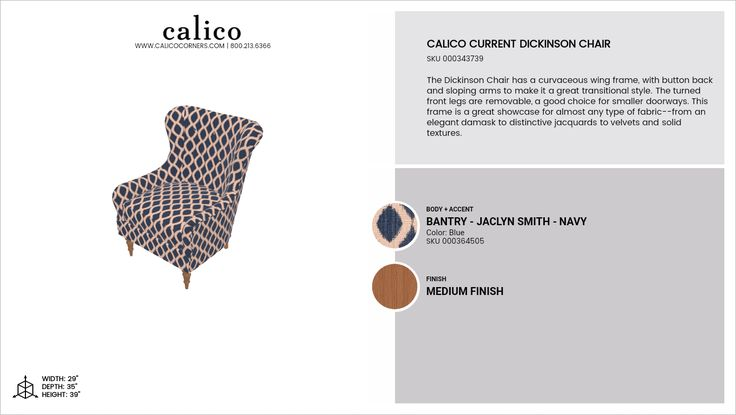 Calico Current Dickinson Chair in Bantry - Jaclyn Smith - Navy with an accent of Bantry - Jaclyn Smith - Navy in Medium Finish