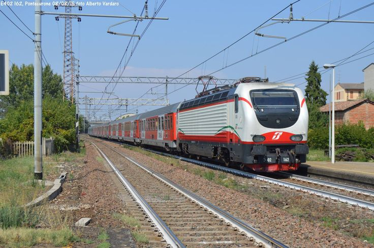 Class E402B 162, with the Thello EC159/160 to Marseilles, passing station of Pontecurone - by Alberto Vardaro - 09 August 2015