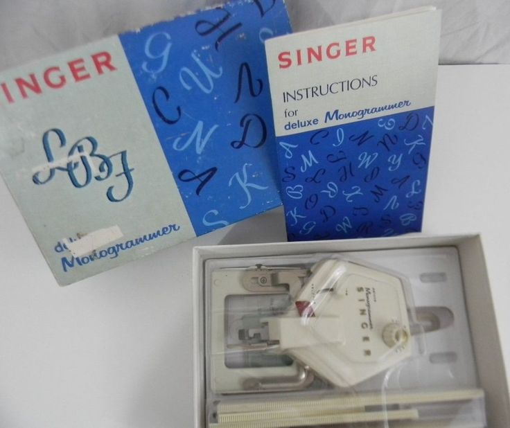 Vintage Singer Deluxe Monogrammer in Box 4 Cams Holder Instructions Guide Shield #SINGER