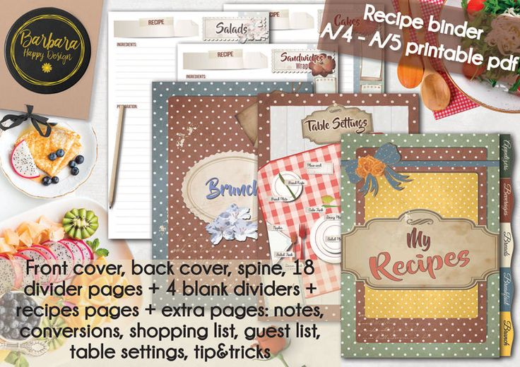 Recipe Binder Kit, Recipe Book, Printable Recipe, DIY Recipe Binder, Recipe Organizer, Instant Download, Recipe Book Gift,  Cookbook di BarbaraHappyDesign su Etsy