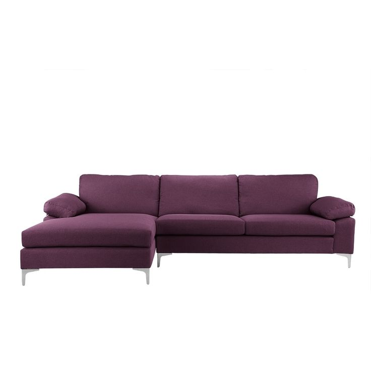 Linen Large Modern Sectional Sofa, L-shape Couch, Wide Chaise (Purple)