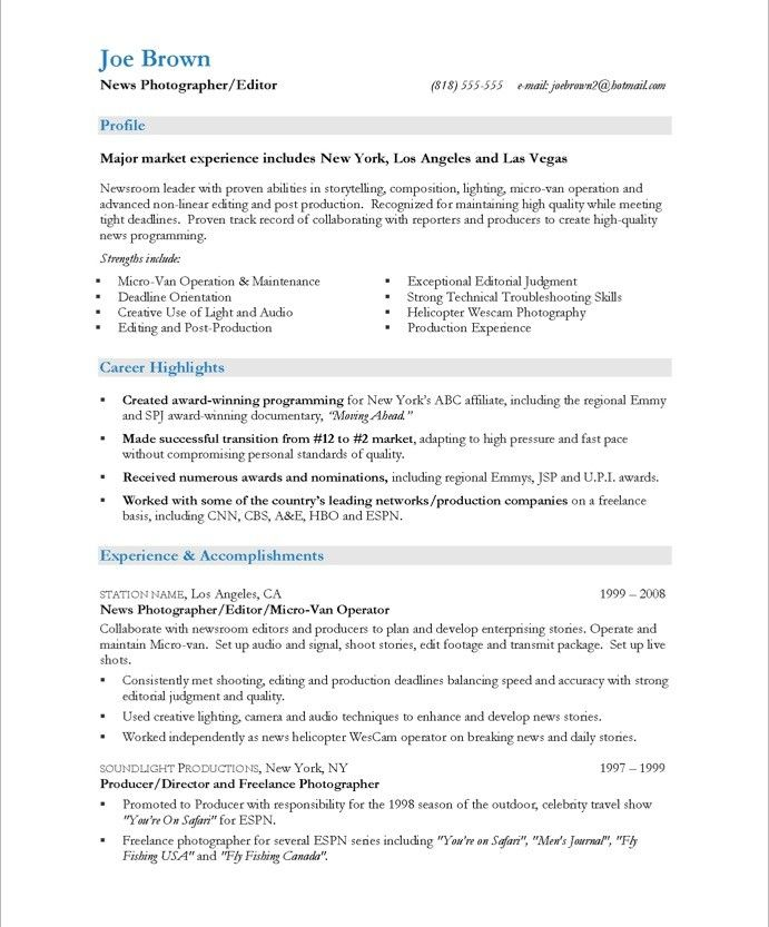 16 Best Images About Media & Communications Resume Samples On