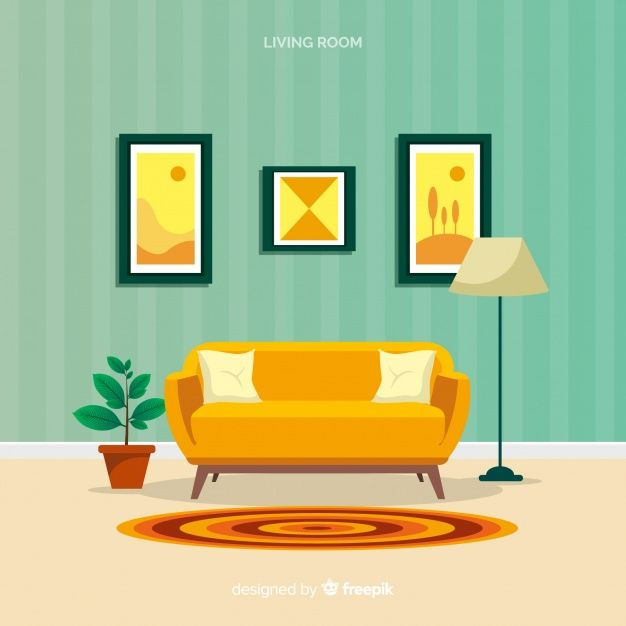 Download Modern Living Room With Flat Design For Free In 2020