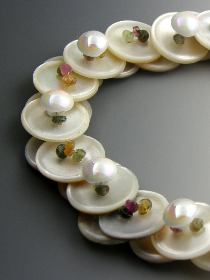 Tourmaline Gemstone Layered Button Necklace