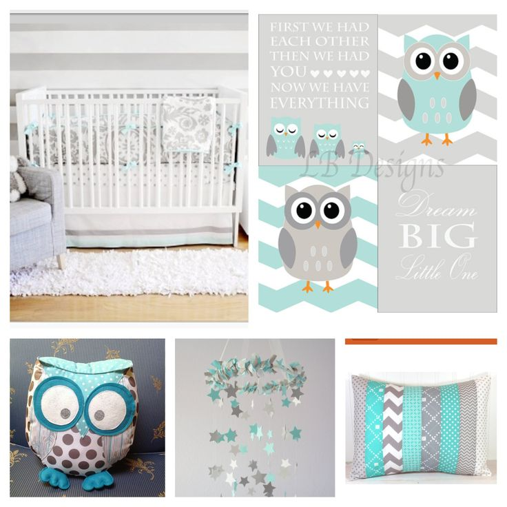 Aqua and Gray Owl nursery. Nursery prints from:  www.etsy.com/shop/LJBrodock Woodland nursery, gender neutral nursery