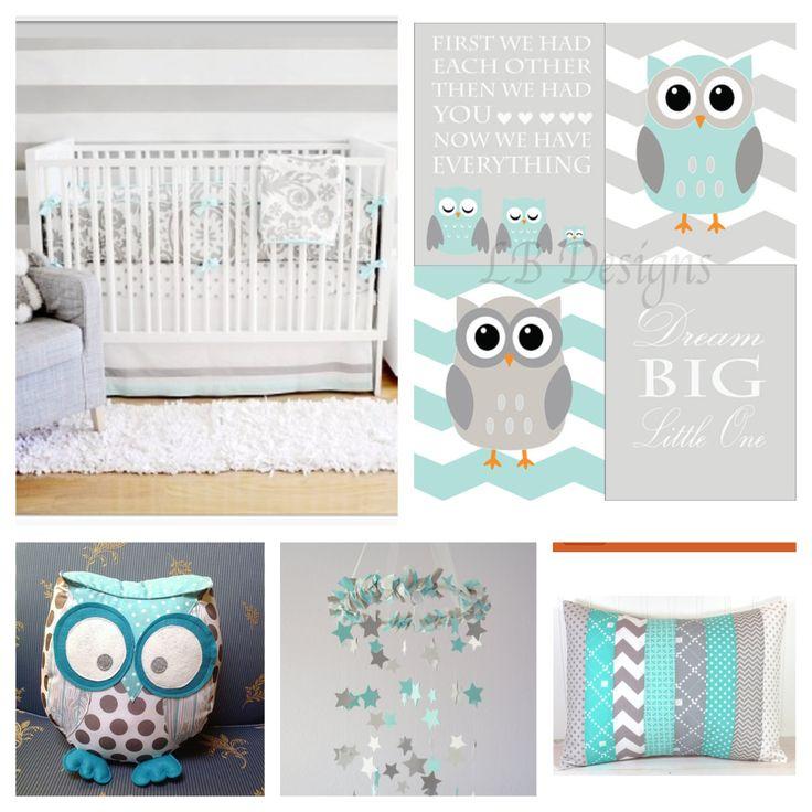 Aqua and Gray Owl nursery. Nursery prints from:  www.etsy.com/shop/LJBrodock Woodland nursery, gender neutral nursery