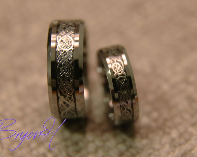 Anillos de promesa de su conjunto, adaptación tamaño tungsteno bandas de la boda, grabado de carburo de tungsteno anillo de bodas anillo promesa boda bandas