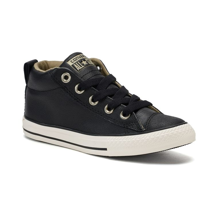 Boys' Converse Chuck Taylor All Star Street Mid Sneakers, Size: 11, Black