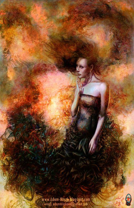 'Dreaming lady' by Adam Miszk #visionaryart #art #digital #contemporaryart #dmt #illustration #fineart  #digitalart #painting  #psychedelic