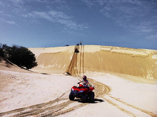 (that's me) ... 4WD quad biking on the Stockton Sand Dunes ... in Port Stephens, Australia