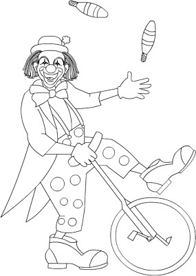 Free Coloring Pages: Clown * coloring page
