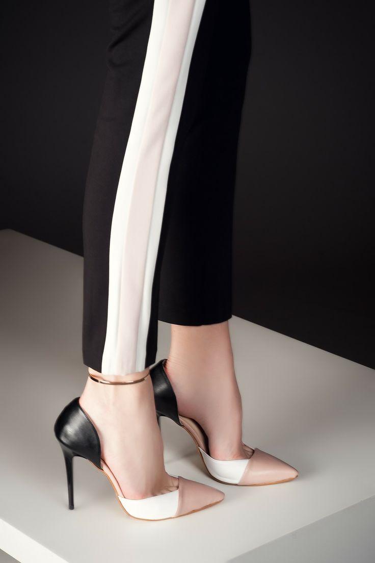 Pudra-Beyaz-Siyah Topuklu Ayakkabı 1633 Milla by trendyol | Trendyol