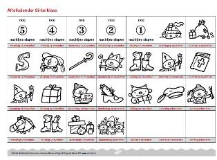 Download de Rompompom aftelkalender voor Sinterklaas, ook te gebruiken om aan te geven wanneer kinderen hun schoen mogen zetten.