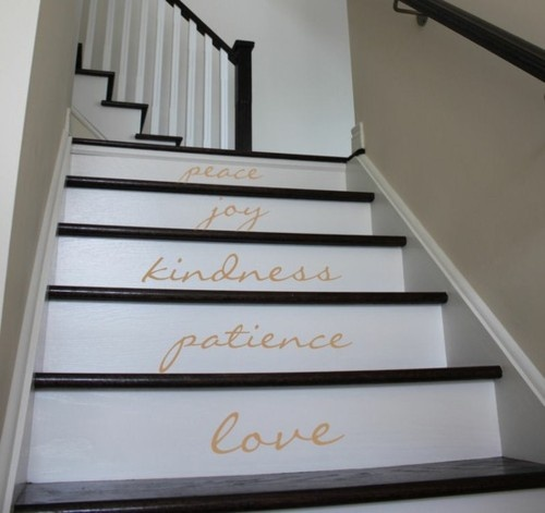 staircases: Sweet, Cute Ideas, Cool Stairs, Basements Stairs, Paintings Staircases, Stairca Wall Decals, Designdecor Ideas, Stairways, White Stairs