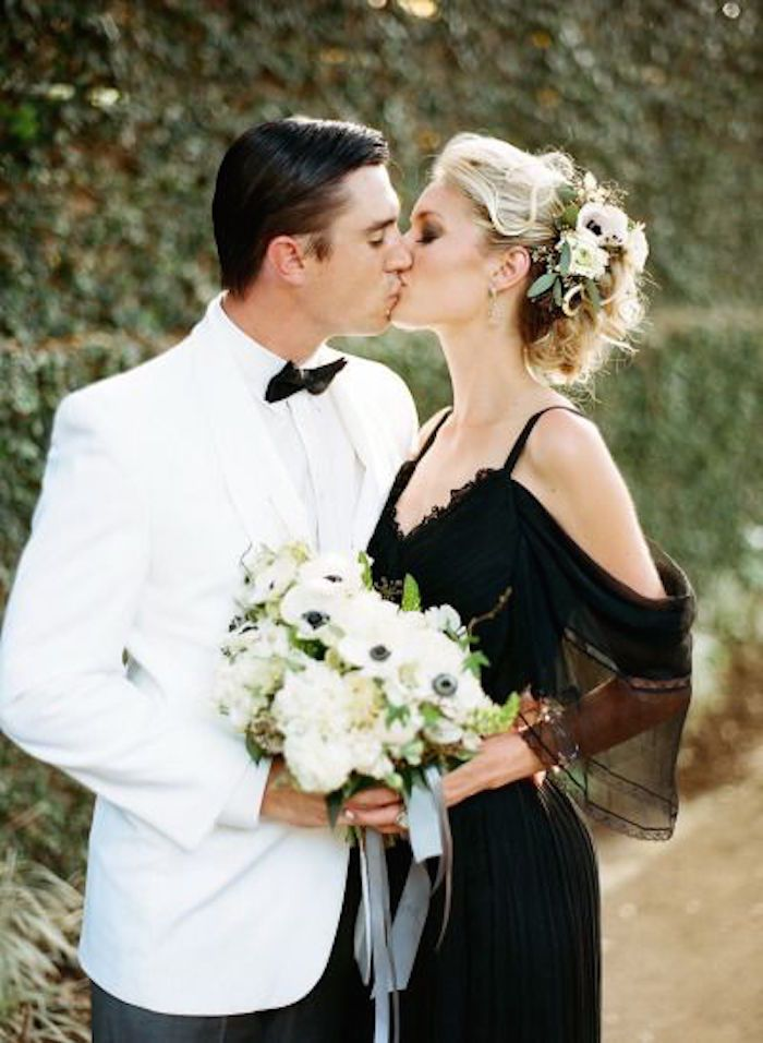 Featured photo: Clayton Austin via Style Me Pretty; Black wedding dress idea;
