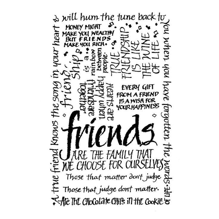 Crafty Individuals CI-052 - 'Friends Calligraphy' Art Rubber Stamp, 55mm x 85mm - Crafty Individuals from Crafty Individuals UK