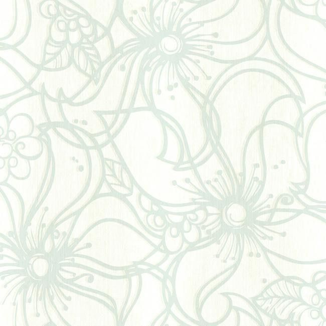 Whimsical Bloom Wallpaper in Aqua design by Stacy Garcia for York Wallcoverings