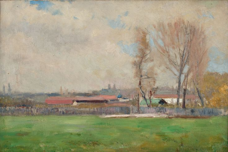 JAN STANISŁAWSKI (1860 - 1907)  PEJZAŻ   olej, płótno / 40 x 37 cm
