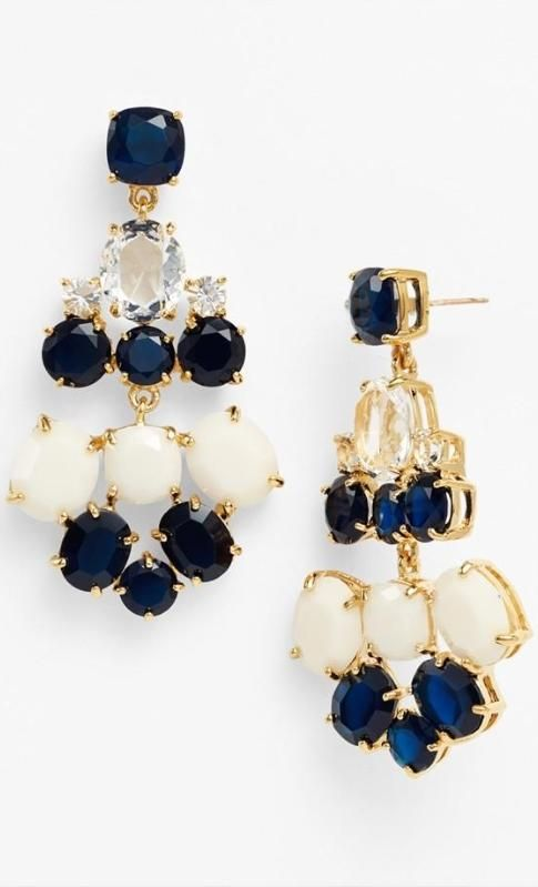 Navy and cream chandelier earrings by kate spade new york