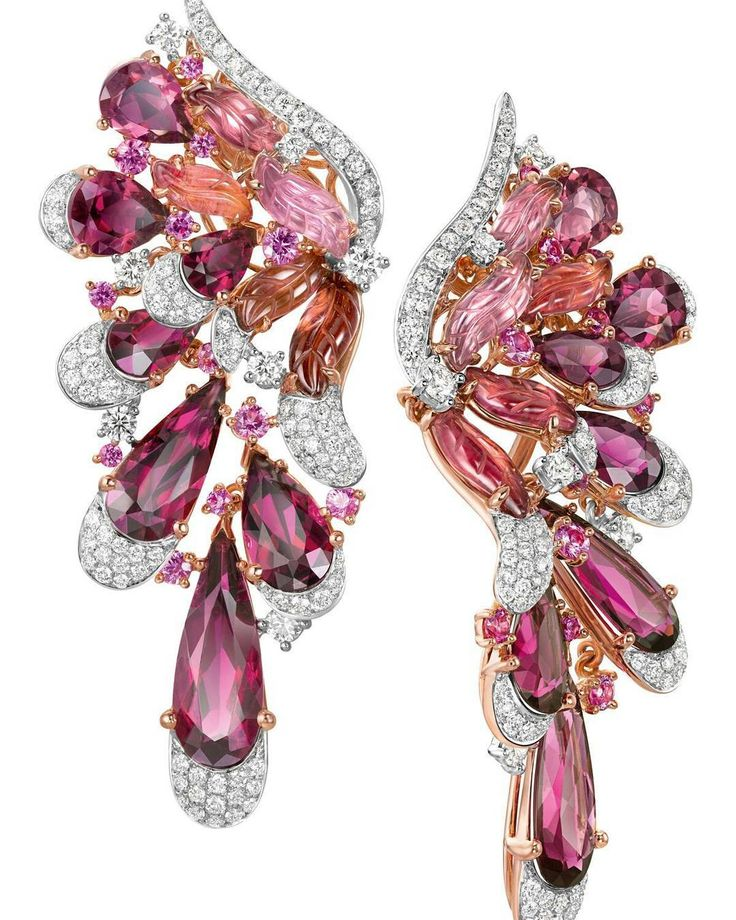 Chow Tai Fook ~ The Flamingo Rouge earrings in 18k white and rose gold, set with diamonds, red tourmalines and pink sapphires .