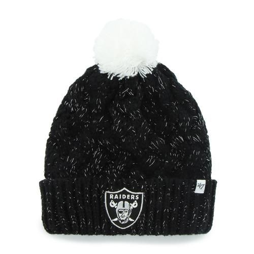 Oakland Raiders Beanie '47 Brand Fiona Knit Hat. This fashion forward crochet knit hat features a woven acrylic yarn with metallic yarn intertwined for a shiny, yet subtle finish. The white pom pom on