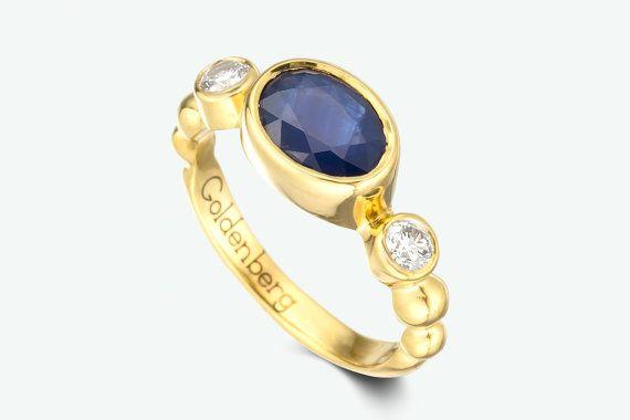 anillo de compromiso de zafiro bisel anillo de por GOLDnBERG