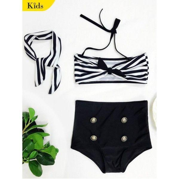 High Waisted Bandeau Bikini With Headband ($14) ❤ liked on Polyvore featuring swimwear, bikinis, high waisted bikini swimwear, highwaist swimwear, high waisted swim wear, black and white bikini and bikini swim wear