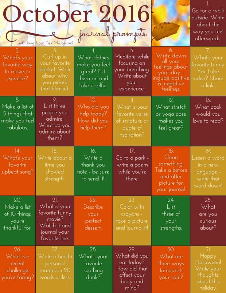 October Journal Prompts from TextMyJournal - prompts for depression and anxiety