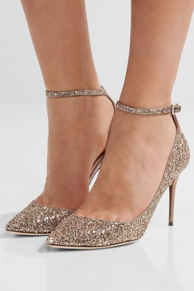 Jimmy Choo - Lucy Glittered Leather Pumps - Gold - IT35.5