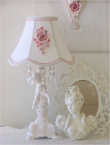 vintage shabby chic lighting. cherub lamp with rosebouquet shade shabby chic farmhousevintage vintage lighting a