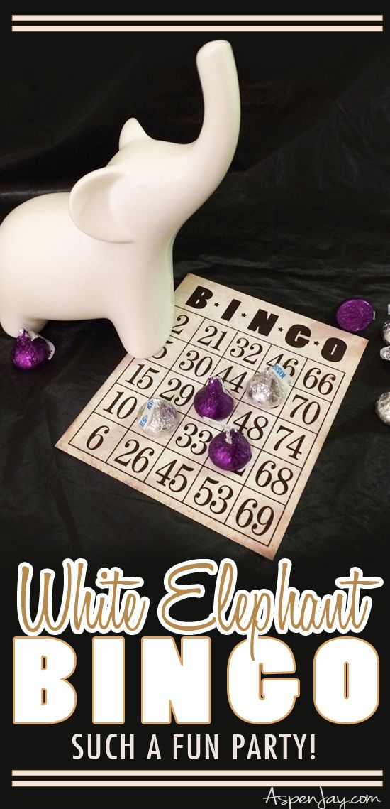 Hosting a White Elephant Bingo Party! Such a fun activity for game night! Love the gold decorations to go along with the theme. PINNED!