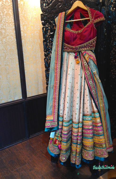 Blush pink lehenga by Tarun Tahiliani at Vogue Wedding Show 2014 | thedelhibride wedding blog