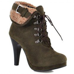 Trendy Buckle and Lace-Up Design Women's High Heel Boots