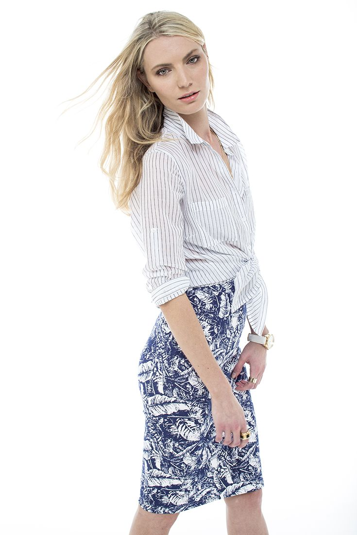 "Our favourite ""boyfriend"" shirt worn with a printed tube skirt."