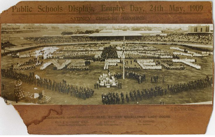 Public Schools display on Empire Day 1909, Sydney Cricket Ground, The detail in this huge photo is amazing. Check out the original here: http://www.records.nsw.gov.au/publications/now-then-enewsletter/images/nrs15051_lg-photos-pub-schls-disp-emp-day-1909-scg