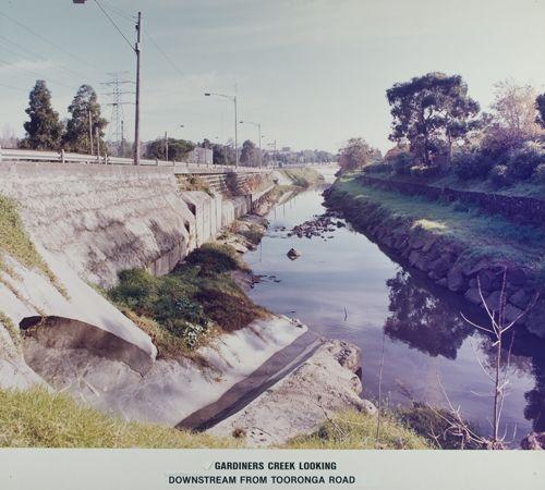 MP 13664. Gardiners Creek looking upstream from Tooronga Road, c1970 to 1986.