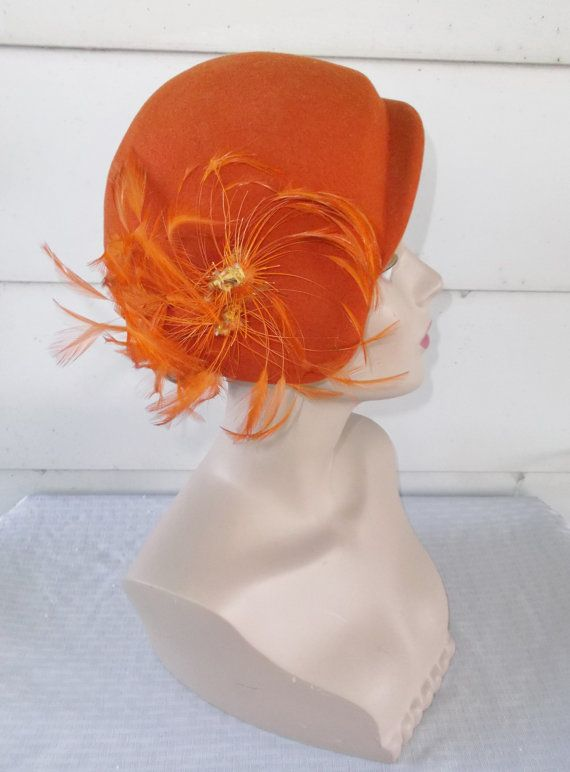 50s 60s Vintage Orange Hat with Orange by MyVintageHatShop on Etsy