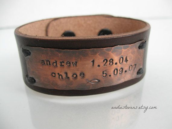 Mothers Day Gift Leather and Rustic Copper by andiestevensdesigns, $45.00