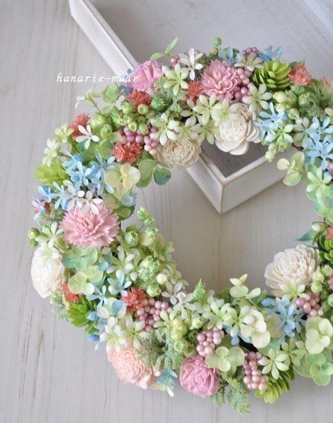 ハンドメイドマーケット minne(ミンネ)  fairy flower ring:ピンクカーネーションのリース