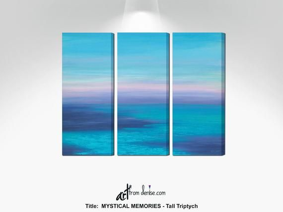 Ocean painting- 3 piece wall art canvas triptych, Beachy pictures for living room wall decor above c