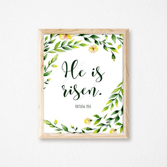 He is Risen Easter Print. Easter Print. Easter Wall Art.
