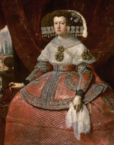 Diego Velázquez (Sevilla. 1599 - 1660) - Retrato de la  reina Marian de Austria con traje de Menina rojo. 1660. Kunsthistorisches Museum, Vienna, Austria.
