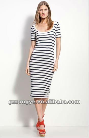 2828cd09524a Vestito lungo righe bianco e blu – Modelli alla moda di abiti 2018