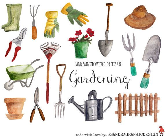 Gardening clip art hand painted watercolor by SandraGraphicDesign