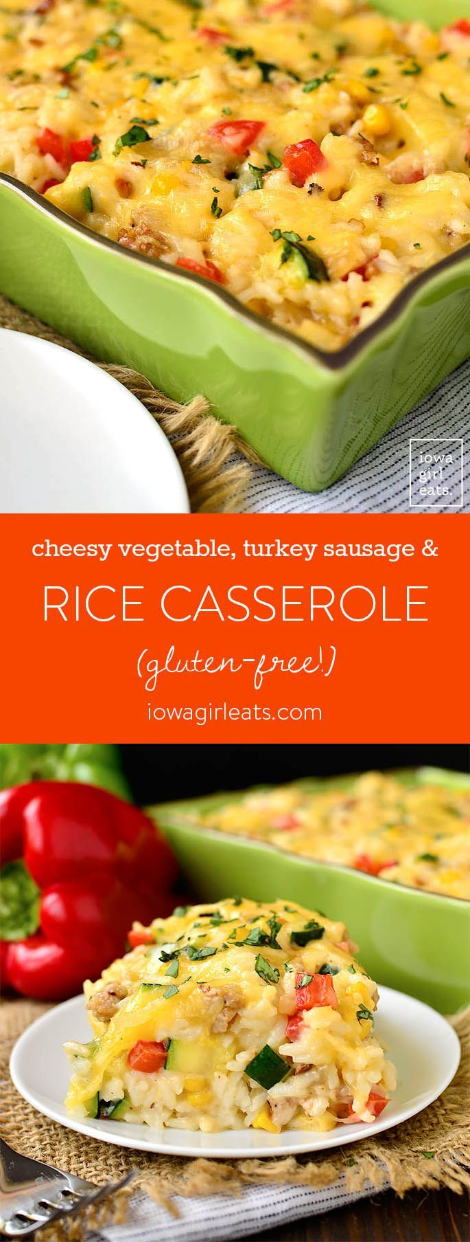 Cheesy Vegetable, Turkey Sausage and Rice Casserole is a home run! This healthy and filling, gluten-free casserole recipe is pure comfort food. | iowagirleats.com