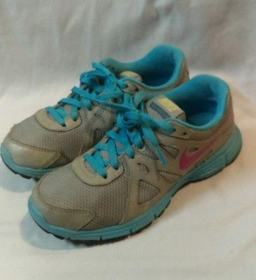 Nike 555090-064 Revolution 2 Shoes Girls Youth Size 4Y Gray/Blue Running Sneaker