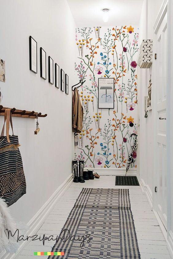 Fleurs sauvages amovible fond d'écran – jardin fleurs mur murale, aquarelle, vif papier peint, décor de mur coloré, Stickers muraux #89
